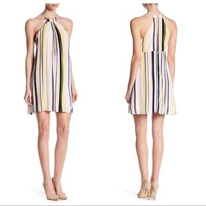 1. State striped far out Trapeze Halter Dress